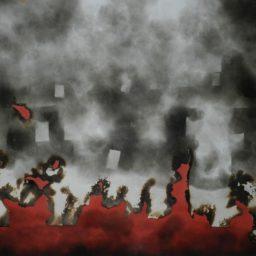 Plonaca Warszawa – ogien i dym – 2005 (2) 109×92
