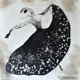 Taniec Nocy, technika autorska dym, praca z 2013 roku, wymiary 61 x 48 cm, obraz sygnowany podpisem artysty