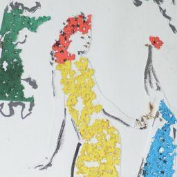 w żółtej sukience , mixed media, 2015, Lubomir tomaszewski