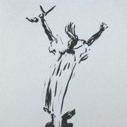 tusz na papierze (prometeusz z bronią) L.Tomaszewski (2)