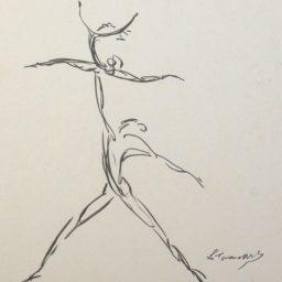 tusz na papierze (tancerze) Lubomir Tomasewski lata 70.