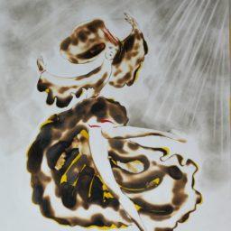 Słoneczny taniec_Sun dance 2004 ogień i dym 46×61 cm