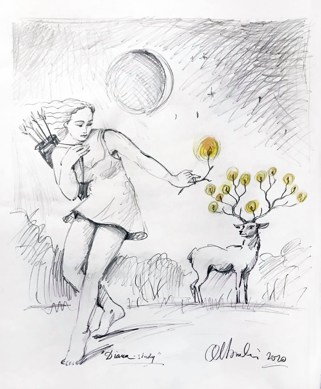 Olbiński rysunek Diana
